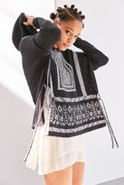 Ecote Patterned Side-Tie Poncho Hoodie Sweater