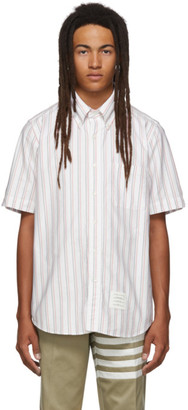 Thom Browne White Striped RWB Short Sleeve Shirt