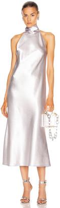 Galvan Metallic Cropped Sienna Dress in Silver | FWRD