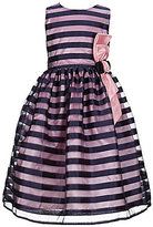 Jayne Copeland Little Girls 2T-6X Shadow Striped Floral-Applique A-Line Dress