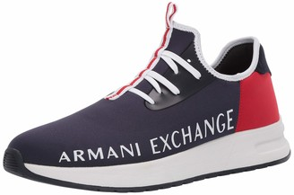 Armani Exchange A|X Men's High Micro Suede Size Logo Lace Up Sneaker