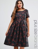 Truly You Brocade Midi Dress