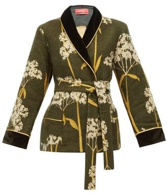 F.R.S For Restless Sleepers Plutone Velvet-trim Floral-jacquard Jacket - Green Multi