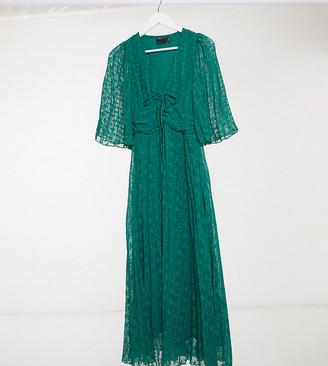 Asos Tall ASOS DESIGN Tall textured midi dress with lace up and fluted sleeves in forest green