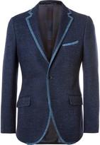 Etro Navy Slim-Fit Contrast-Trimmed Cotton-Blend Blazer