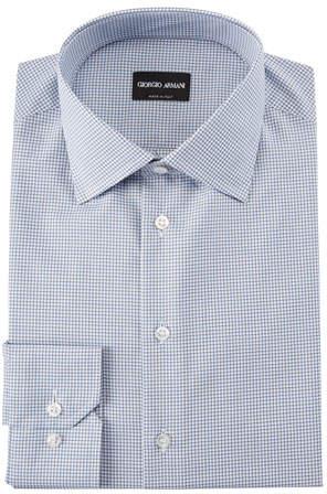 Giorgio Armani Men's Micro-Graph Cotton Dress Shirt, Blue