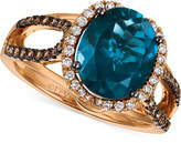 LeVian Le Vian® Chocolatier London Blue Topaz (4 ct. t.w.) and Diamond (3/8 ct. t.w.) Ring in 14k Rose Gold, Only at Macy's