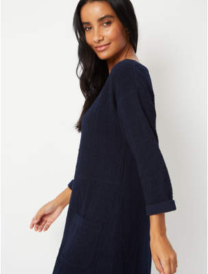 George Navy Textured Tunic Top