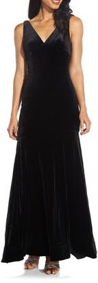 Adrianna Papell Velvet Trumpet Gown