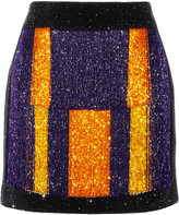 Balmain Color-block embellished velvet mini skirt