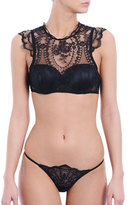 I.D. Sarrieri Tattoo Padded Half-Cup Bra, Black