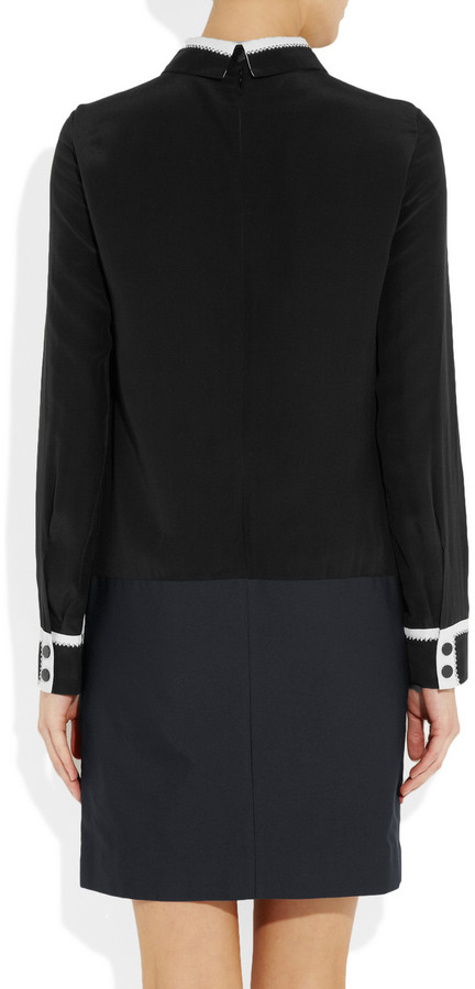 Victoria Beckham Victoria, Studded silk-crepe and twill dress