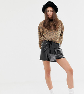 Bershka patent vinyl button front skirt