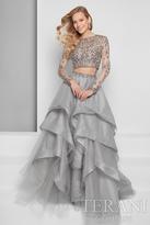 Terani Evening - Shimmering Beaded Crop Top Double Tiered Organza Skirt Evening Dress 1711E3214