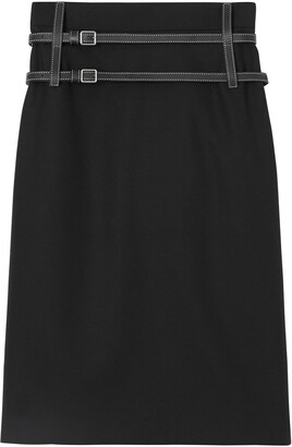 Burberry Leather Harness Detail Wool Pencil Skirt