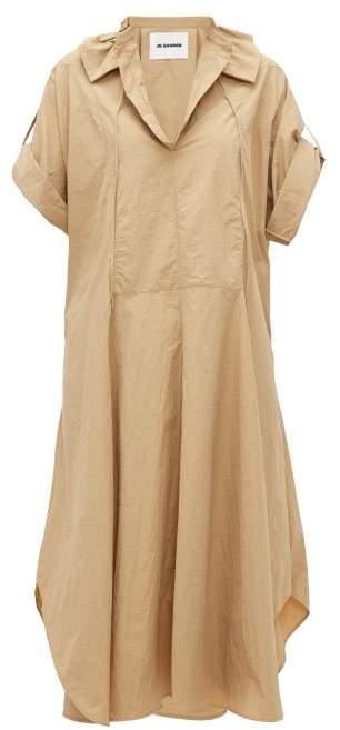 Jil Sander Drawstring Collar Poplin Shirtdress - Womens - Camel