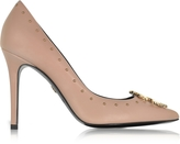 Roberto Cavalli Cappuccino Studded Leather High Heel Pump