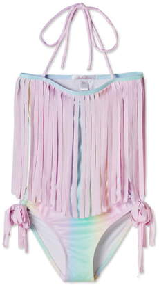 Stella Cove Pastel Rainbow Fringe One-Piece Swimsuit