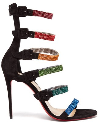 Christian Louboutin Raynibo 100 Crystal-embellished Suede Sandals - Womens - Black Multi
