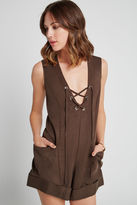 BCBGeneration Lace-Up Twill Romper - Coffee Bean
