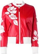 Fendi floral bomber jacket - women - Silk/Leather/Polyamide/Spandex/Elastane - 42