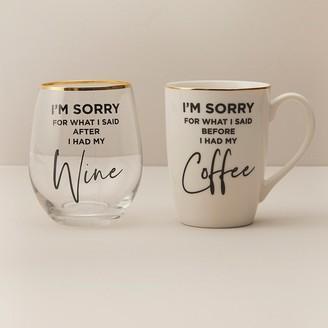 Indigo What I Said Mug And Stemless Wine Glass Set
