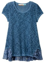 Vintage Havana Mineral Wash Top with Lace Trim Top (Big Girls)