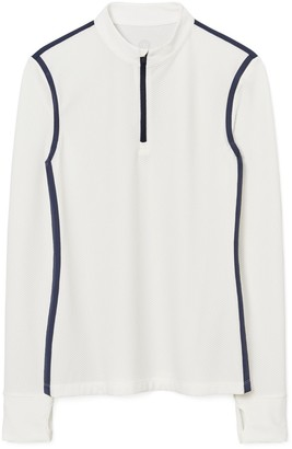 Tory Burch Reflective-Stripe Quarter-Zip Pullover