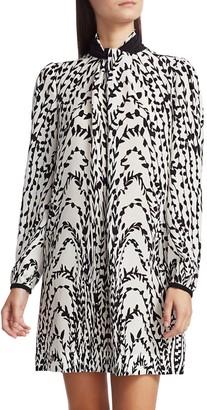 Givenchy Twisted Collar Silk Shift Dress
