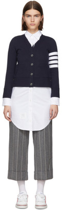 Thom Browne Navy Trompe LOeil Cardigan Shirt Dress