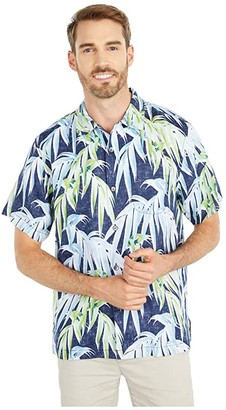 Tommy Bahama Perfect Palmday Linen Camp Shirt (Ocean Deep) Men's Clothing