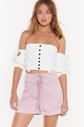 Nasty Gal Womens Which Strings Me to the Point D-Ring Lace-Up Shorts - Purple - 8
