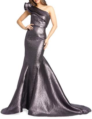 Mac Duggal Metallic Asymmetric Ruffle One-Shoulder Trumpet Gown