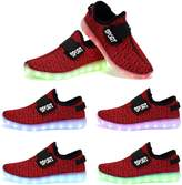OUYAJI Unisex LED flashing 7 colors changing light up USB charging shoes walking dancing sneaker Black 3 US Big kid