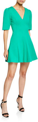 Elliatt Valley V-Neck Elbow-Sleeve Fit-and-Flare Mini Dress