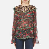 Maison Scotch Women's Mixed Print Top with Ruffle Details Multi