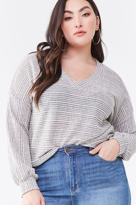 Forever 21 Plus Size Striped V-Neck Sweater