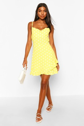 boohoo Tall Polka Dot Ruffle Slip Dress