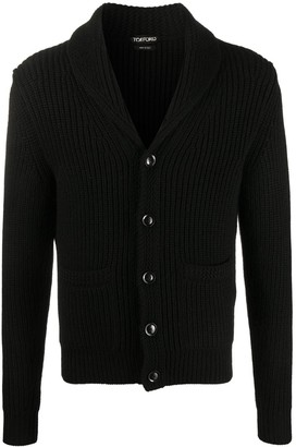 Tom Ford Shawl Lapel Ribbed Cardigan