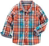 Osh Kosh Toddler Boy Orange Plaid Button-Down Shirt