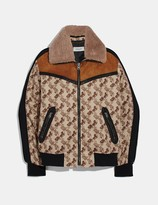Coach Horse And Carriage Print Jacket With Removable Shearling Collar