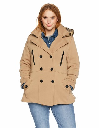 Yoki Women's Plus Size Double Breast Fleece Jacket with Ruffles Outerwear