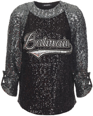 Balmain Embroidered Sequined Woven Top