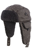 Mantaray Grey Mock Waxed Trapper Hat