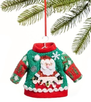 Holiday Lane Santa's Favorites Green Ugly Christmas Sweater Ornament, Created for Macy's