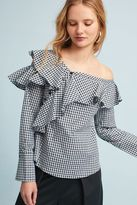 Anthropologie Keeley Ruffled One-Shoulder Gingham Blouse