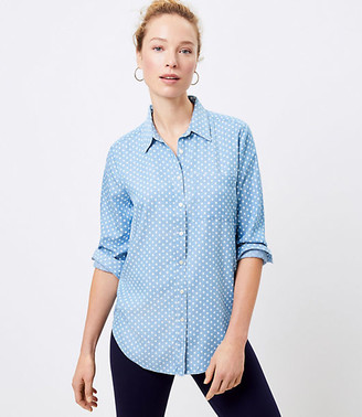 LOFT Dotted Chambray Tunic Shirt