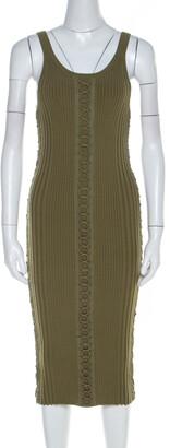 Alexander Wang Green Ribbed Knit Lace Up Detail Tank Dress S