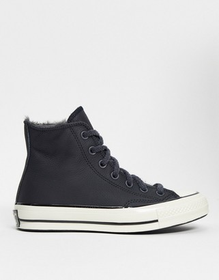 Converse cosy club faux fur lined trainers in black leather