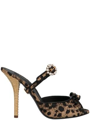 Dolce & Gabbana Animal Print Open Toe Mules